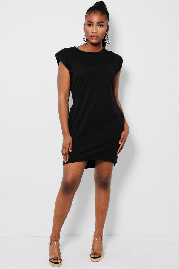 Black Power Shoulders Sleeveless T-Shirt Dress