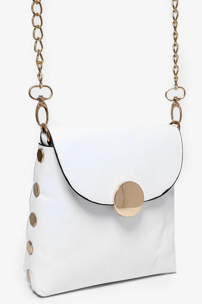 Gold Studs And Gold Chain Strap White Mini Bag-SinglePrice