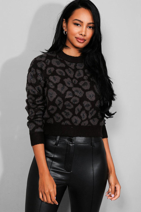 Black Leopard Lurex Cropped Jumper - SinglePrice