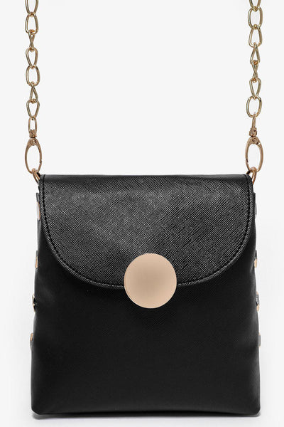 Gold Studs And Gold Chain Strap Black Mini Bag-SinglePrice