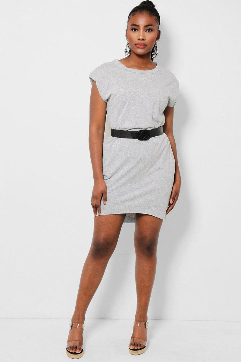 Grey Power Shoulders Sleeveless T-Shirt Dress - SinglePrice