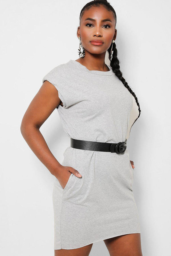 Grey Power Shoulders Sleeveless T-Shirt Dress