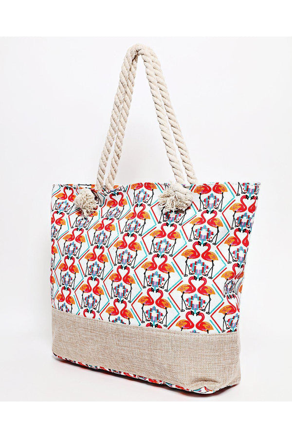 Rope Handle Mirrored Flamingo Print Red Beach Bag-SinglePrice