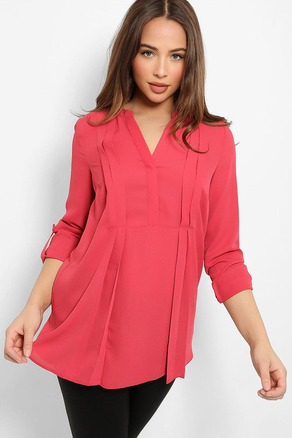 Faded Red Pleated Front Detail V-Neck Blouse-SinglePrice