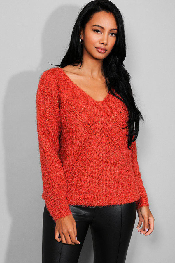Rust Fluffy Knit Lurex V-Neck Pullover - SinglePrice