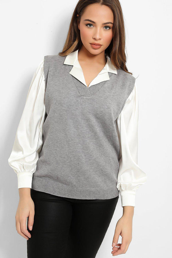 Grey Knitted Classic V-Neck Vest Pullover