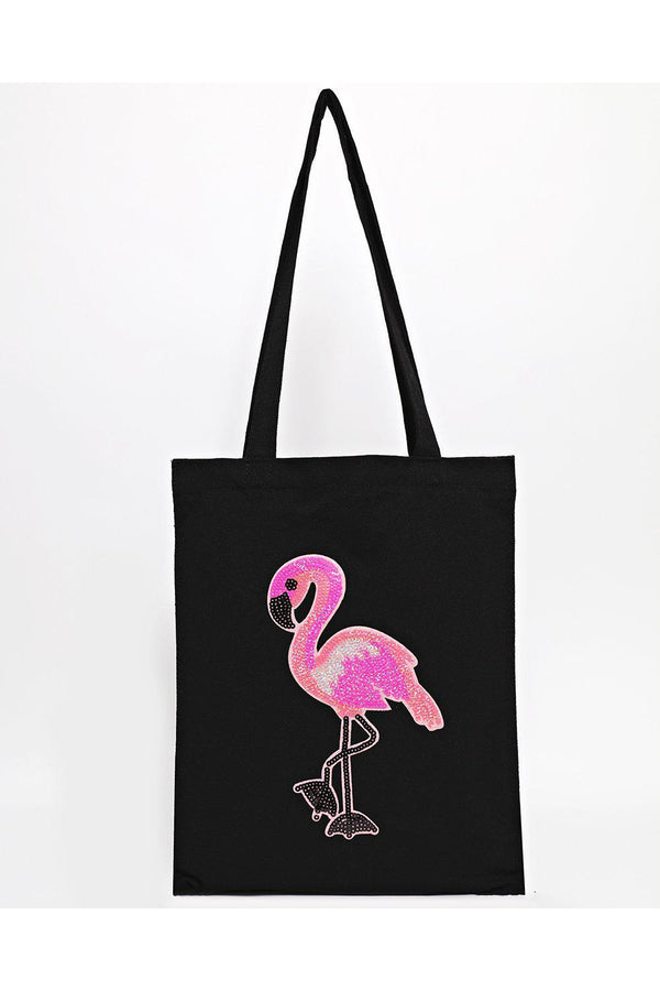 Sequin Flamingo Black Canvas Tote Bag-SinglePrice