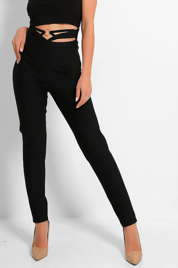 Black Strappy Front Ring Detail Bandage Trousers - SinglePrice