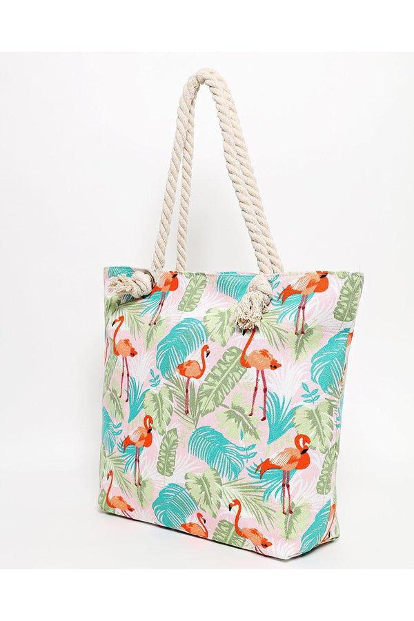 Rope Handle Tropical Flamingo Print Pink Beach Bag-SinglePrice