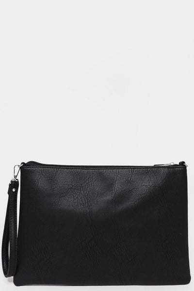 Black Faux Leather Clutch-SinglePrice