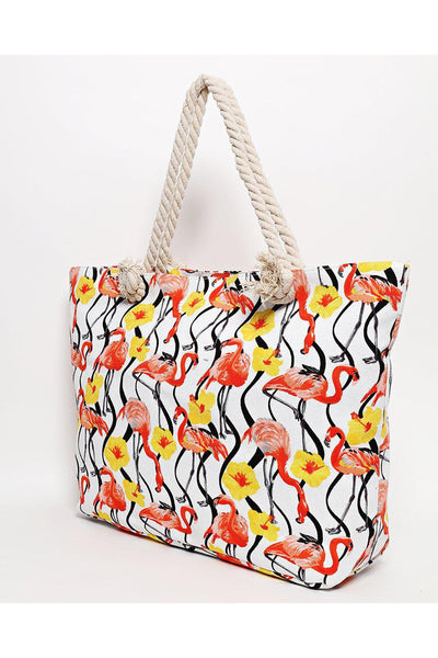 Rope Handle Floral Flamingo Print White Beach Bag-SinglePrice