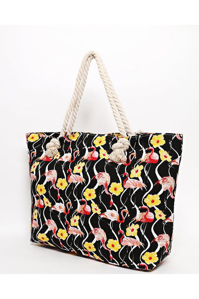 Rope Handle Floral Flamingo Print Black Beach Bag-SinglePrice