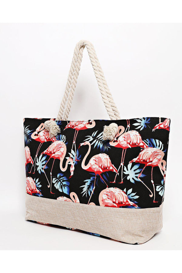 Rope Handle Flamingo Print Black Beach Bag-SinglePrice