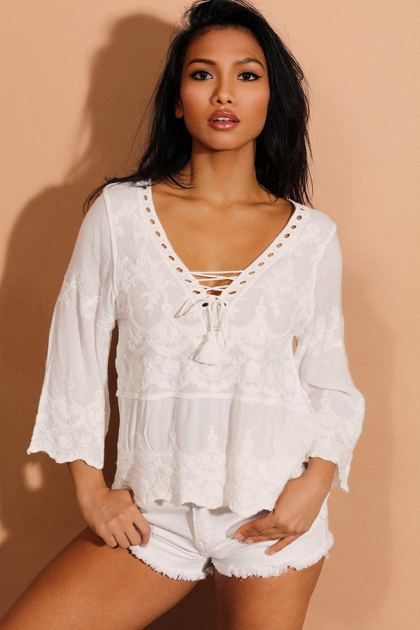 White 100% Cotton Embroidered Summer Top - SinglePrice