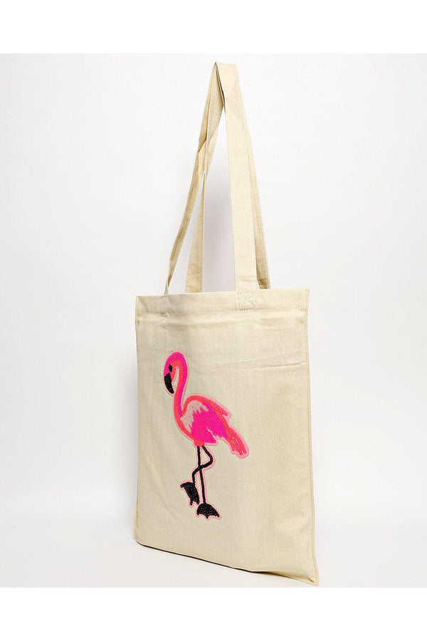 Sequin Flamingo Beige Canvas Tote Bag-SinglePrice