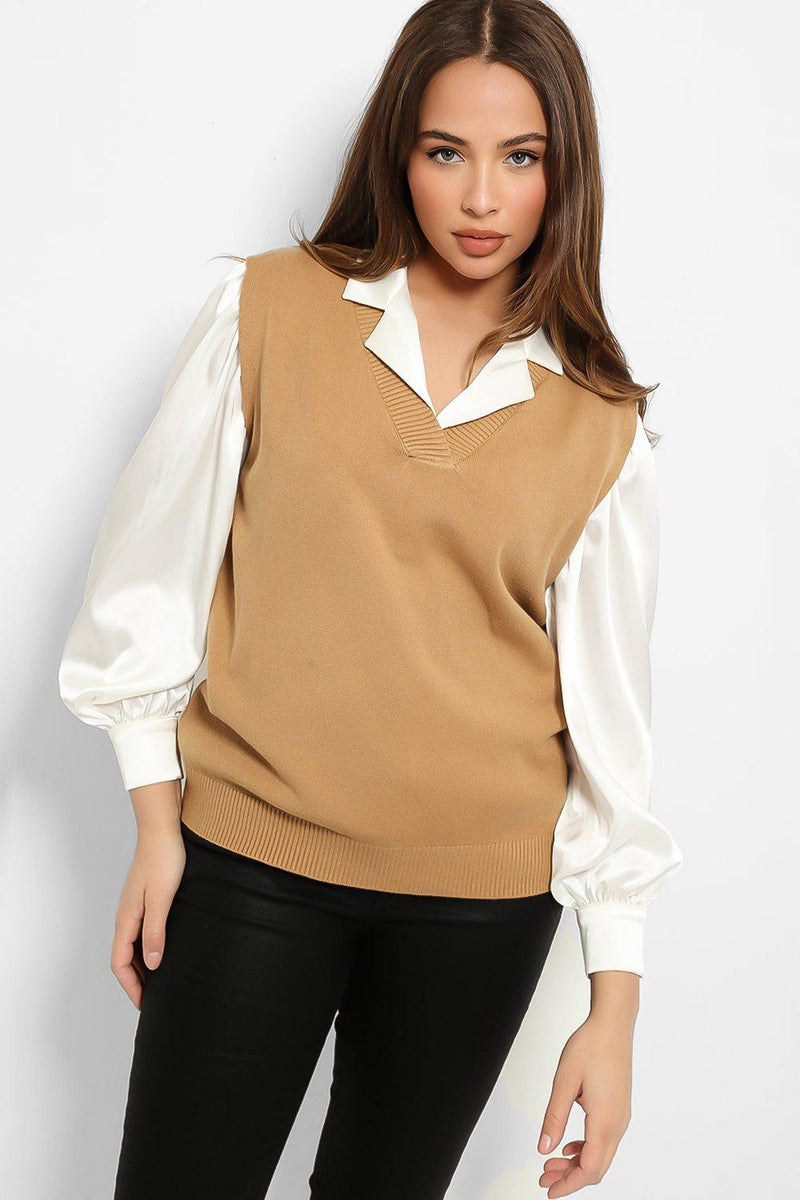 Light Brown Knitted Classic V-Neck Vest Pullover - SinglePrice