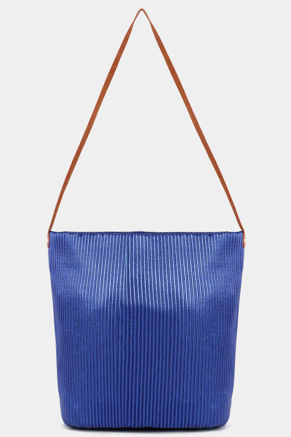 Metallic Blue Ribbed Vegan Leather Shopper Bag - SinglePrice