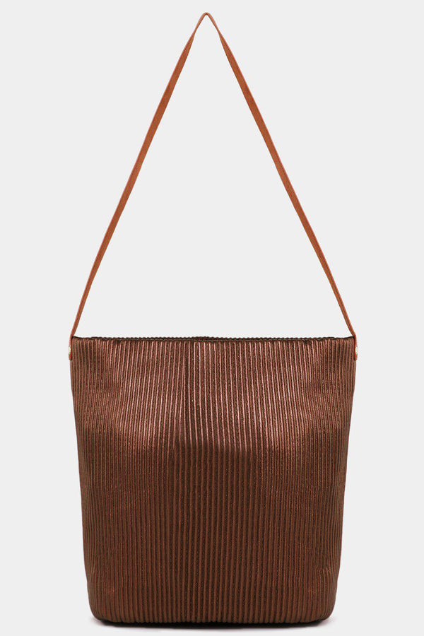 Metallic Gold Ribbed Vegan Leather Shopper Bag - SinglePrice