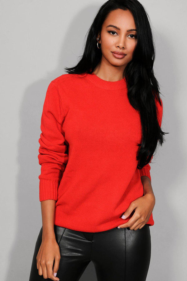 Solid Red Flat Knit Pullover-SinglePrice