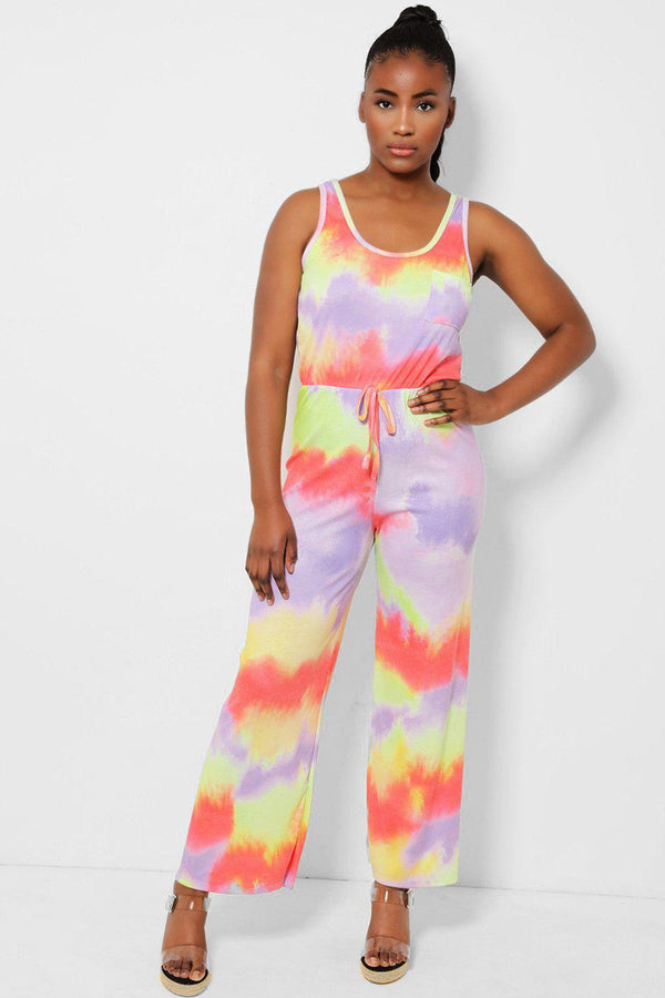 Lilac Tie Dye Ribbed Jersey Jumpsuit - SinglePrice