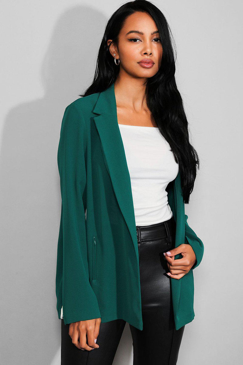Bottle Green Sporty Stripe Zipped Pockets Open Blazer - SinglePrice