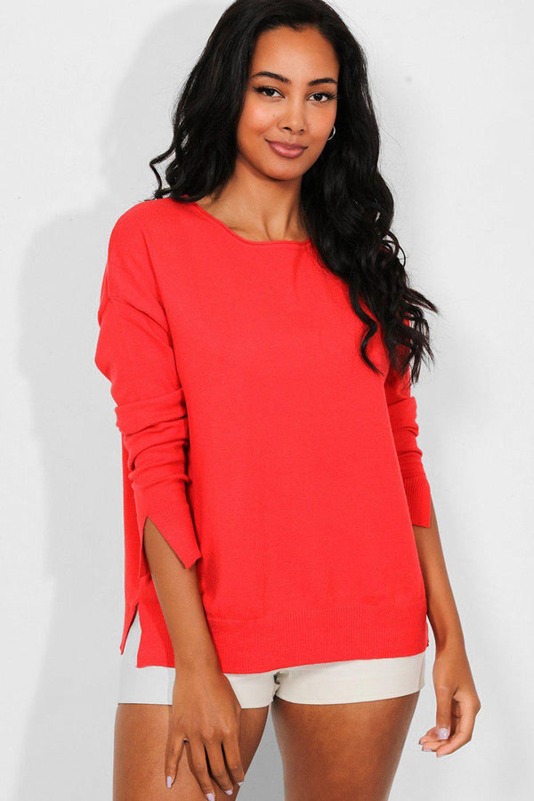 Red Side And Cuff Splits Flat Knit Pullover