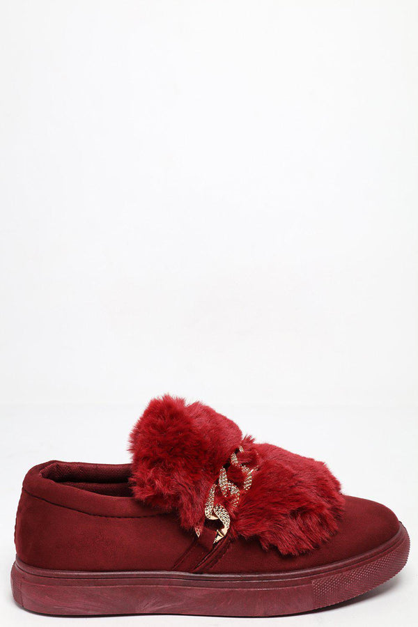 Chain Strap Fur Top Wine Red Plimsoles - SinglePrice