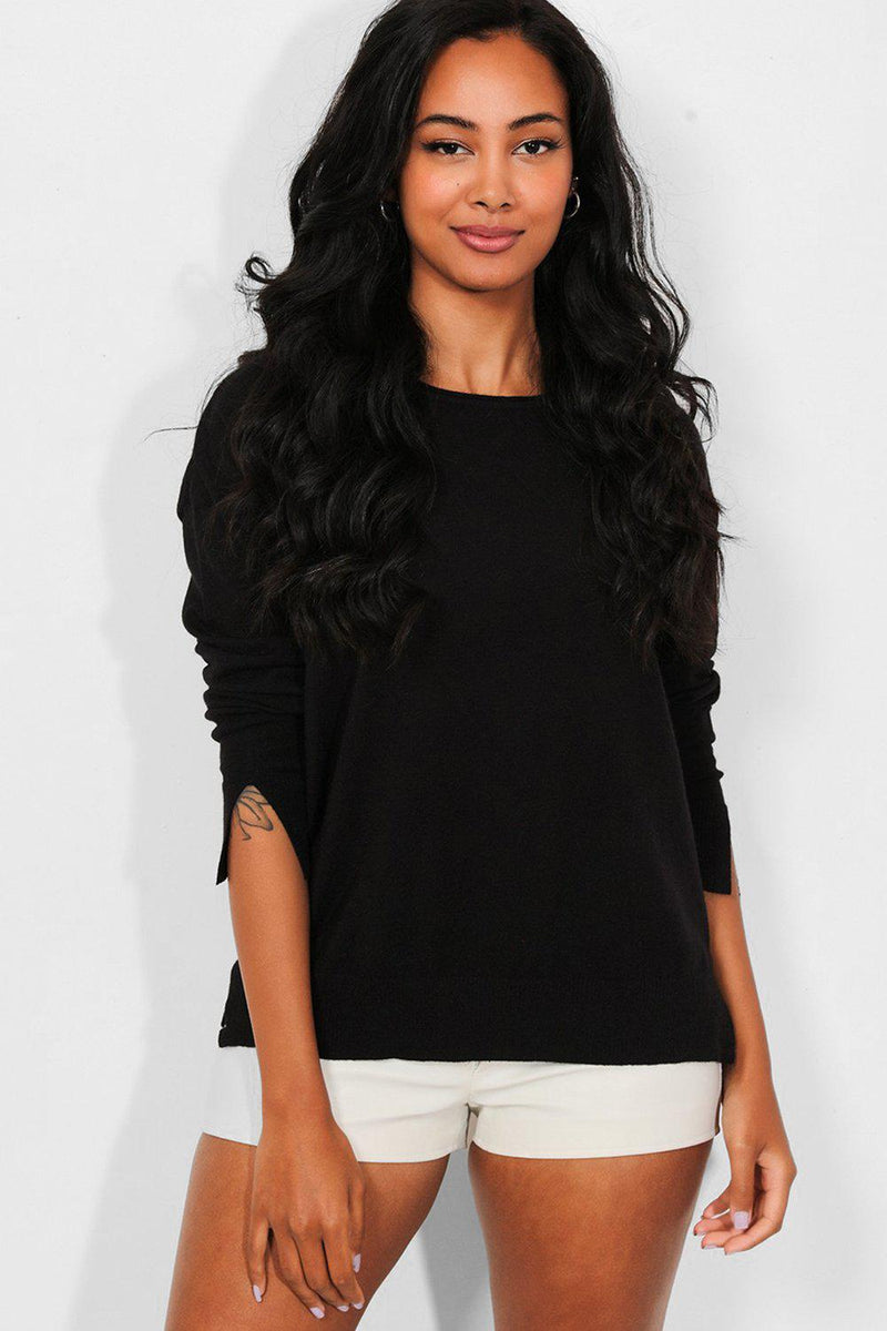 Black Side And Cuff Splits Flat Knit Pullover - SinglePrice