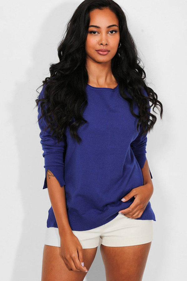 Blue Side And Cuff Splits Flat Knit Pullover