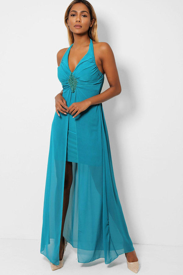 Teal Chiffon Skirt Halter Neck Maxi Dress-SinglePrice