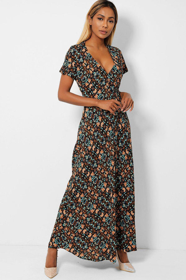 V-Neck Floral Print Maxi Dress-SinglePrice