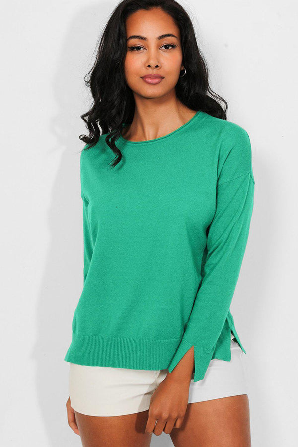 Green Side And Cuff Splits Flat Knit Pullover