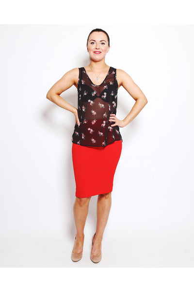 Red Midi Skirt-SinglePrice