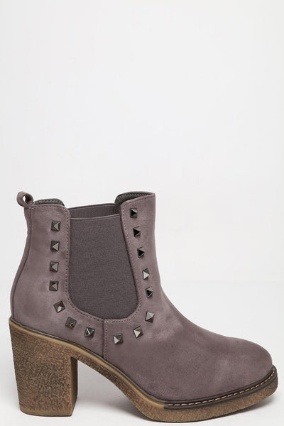 Studded Details Heeled Grey Chelsea Boots-SinglePrice