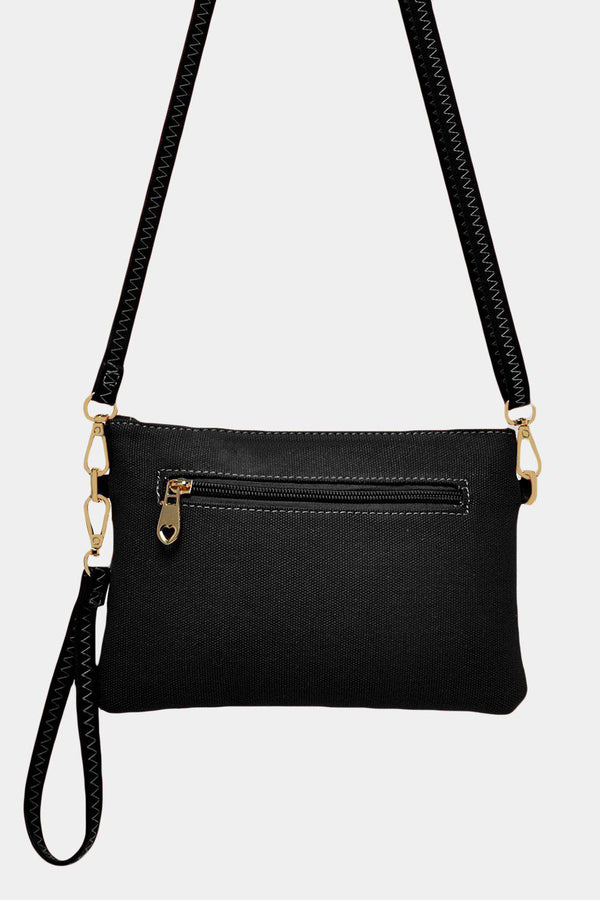 Black Glitter Star Mini Canvas Purse Crossbody Bag - SinglePrice