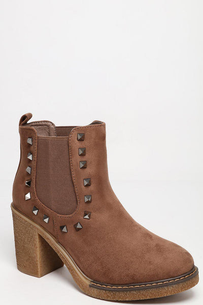 Studded Details Heeled Taupe Chelsea Boots-SinglePrice