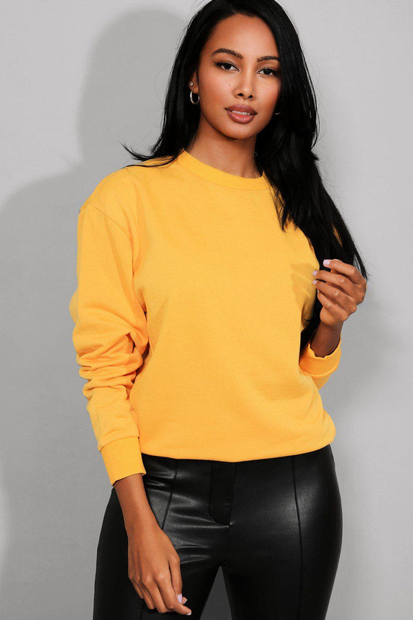Yellow Dropped Shoulders Sweatshirt - SinglePrice