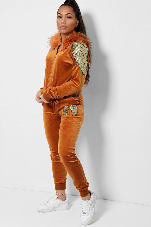 Sequin Wings Embellished Faux Fur Hood Velvet Tan 2 Piece Tracksuit-SinglePrice