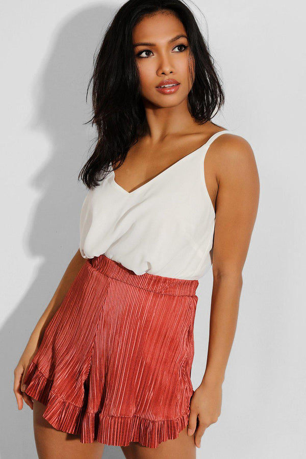Brown Pleated Frill Hem Shorts - SinglePrice
