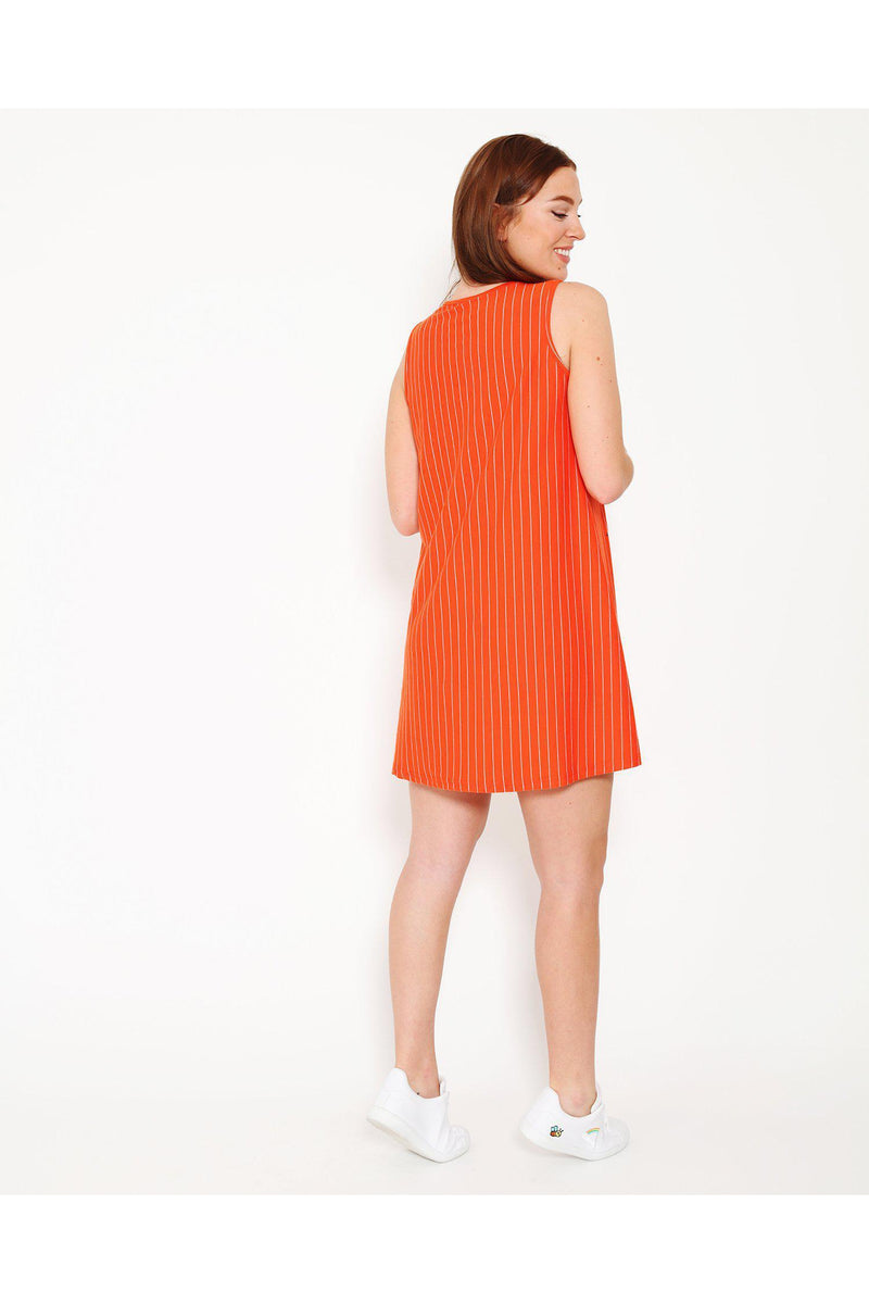 Frenchie Slogan Orange Sporty Dress-SinglePrice