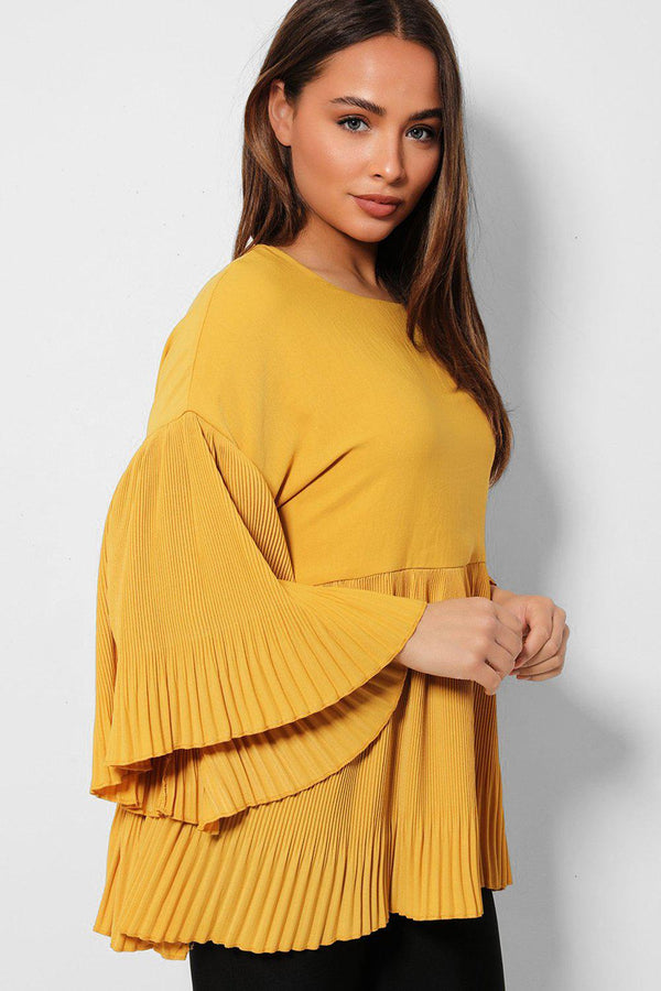 Mustard Mini Pleated Frills Top - SinglePrice