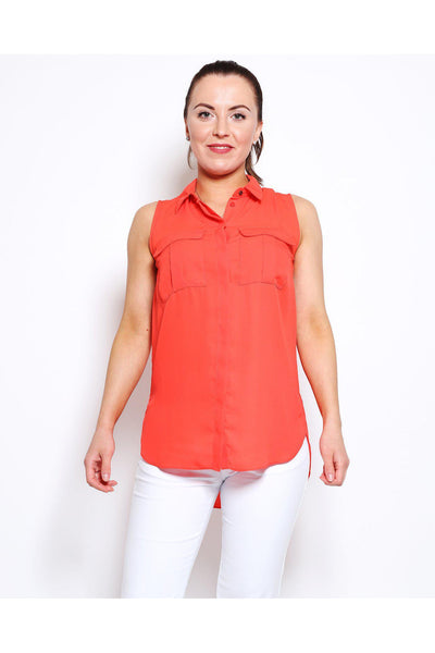 Coral Sleeveless Summer Blouse-SinglePrice
