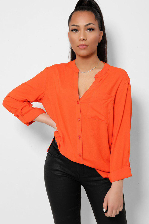 Orange Button Front Roll-Up Sleeves Lightweight Shirt-SinglePrice