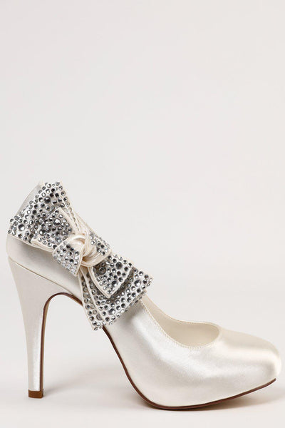 Encrusted Bow Cream Satin Heels-SinglePrice