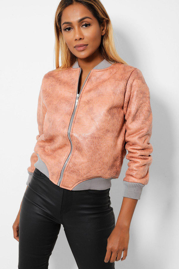 Pink Vegan Aged Leather Grey Teddy Lining Bomber