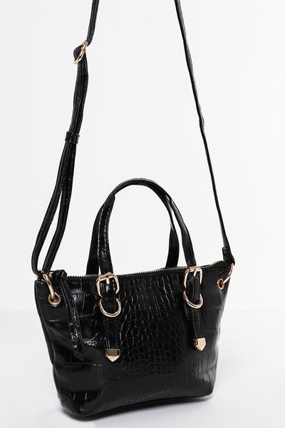 Black Croc Effect Mini Side Bag-SinglePrice