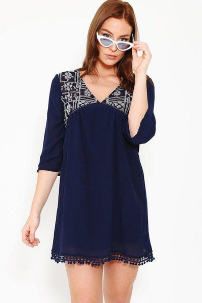 Embroidered V-Neck Boho Tassels Navy Dress-SinglePrice
