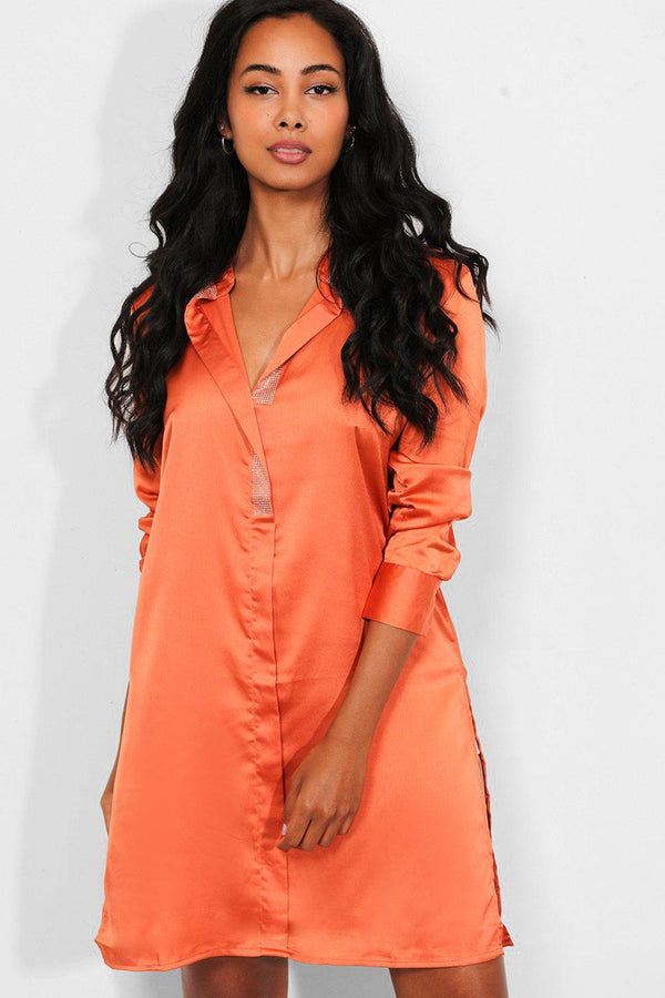 Rust Silk Touch Embellished V-Neck Longline Blouse - SinglePrice