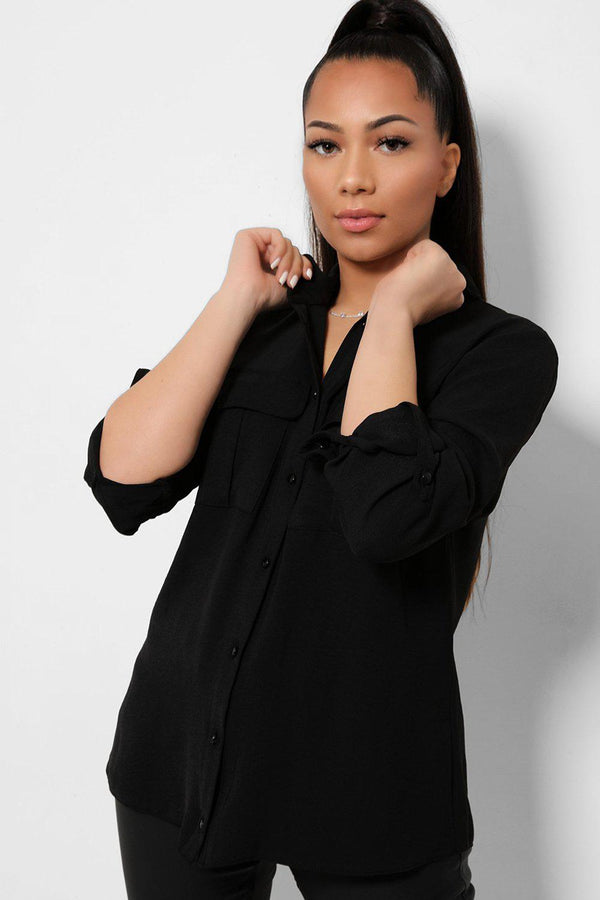 Black Roll Up Sleeves Boxy Shirt-SinglePrice