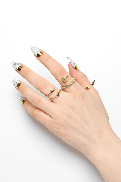 Pack Of 5 Mixed Stackable Gold Rings